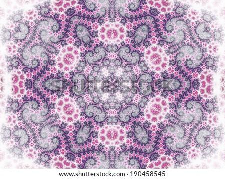 Purple kaleidoscope fractal shape, digital artwork for creative graphic design - stock photo