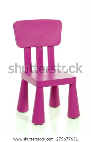 Purple Kids Plastic Chair Isolated On White Background