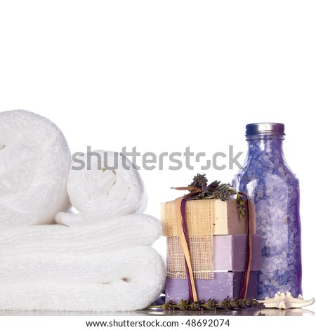 Purple Lavender Bath Soap, Bath Salt, Starfish and White Towels Isolated On White Background - stock photo