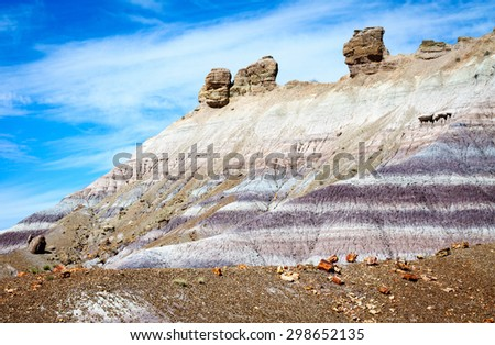 Purple Layers of Earth at Petrified Forest National Park - stock photo