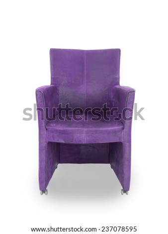 Purple leather dining room chair isolated on white - stock photo