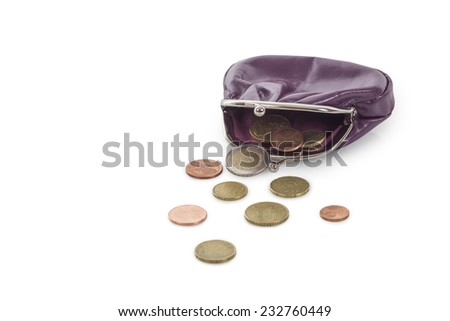 Purple leather purse with euro coins isolated on white background - stock photo