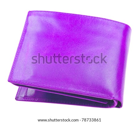 Purple leather wallet isolated on white background