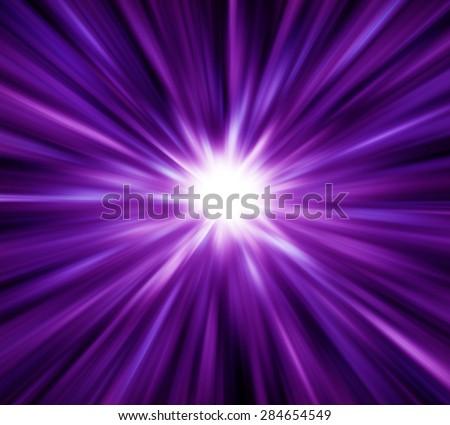 Purple light explosion effects background - stock photo