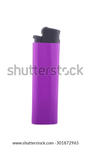 Purple lighter isolated on white background - stock photo