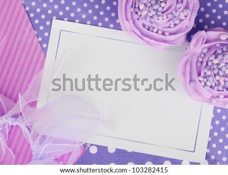 purple lilac cupcake card design wallpaper background - stock photo