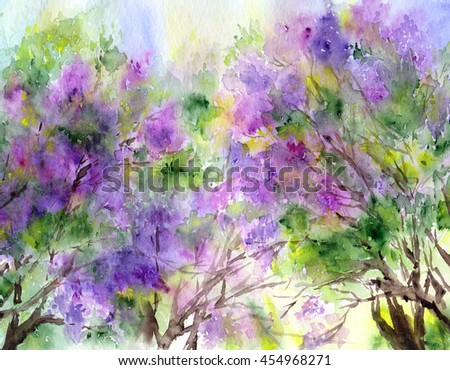 Purple lilac tree. Floral background. Spring flower.