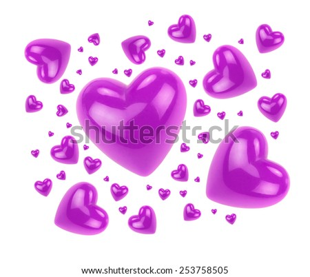 Purple love hearts isolated on white background. - stock photo