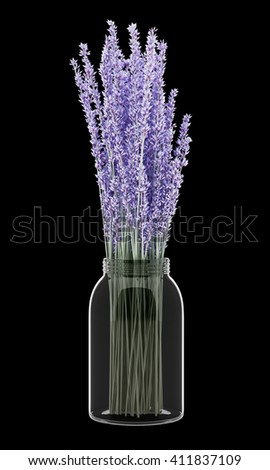 purple lupine flowers in glass jar isolated on black background. 3D illustration - stock photo