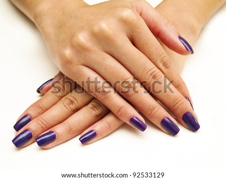 Purple Manicure - stock photo