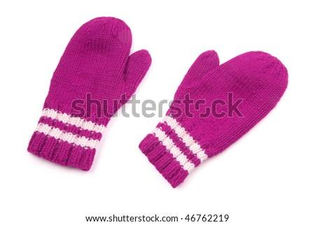 Purple mittens with white stripe on wrist over white - stock photo