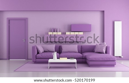 Purple Modern Living Room With Sofa And Closed Door   3d Rendering