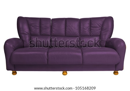 purple modern sofa on white with clipping path - stock photo