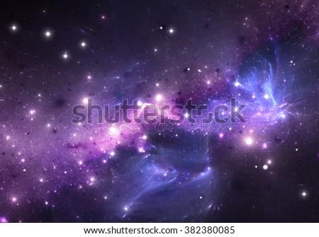 Purple nebula and stars. Space background - stock photo