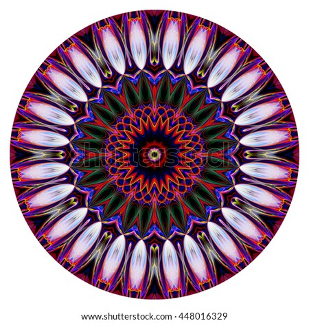 Purple neon red orange blue green yellow kaleidoscope twist twirl spin oval powerful design pattern background backdrop flower floral  - stock photo
