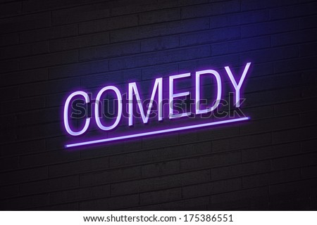 Purple neon sign with comedy text on wall - stock photo