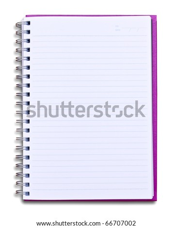 purple notebook isolated on white background