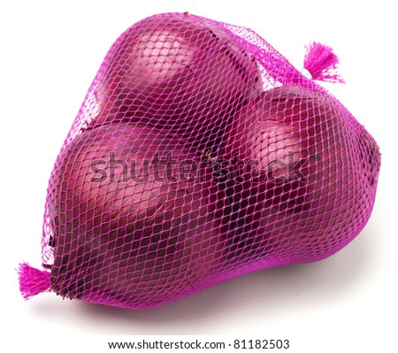 purple onions pack isolated on a white background - stock photo
