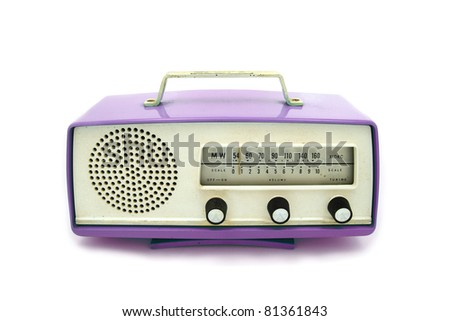 Purple or Violet grungy retro radio on  isolated white background - stock photo