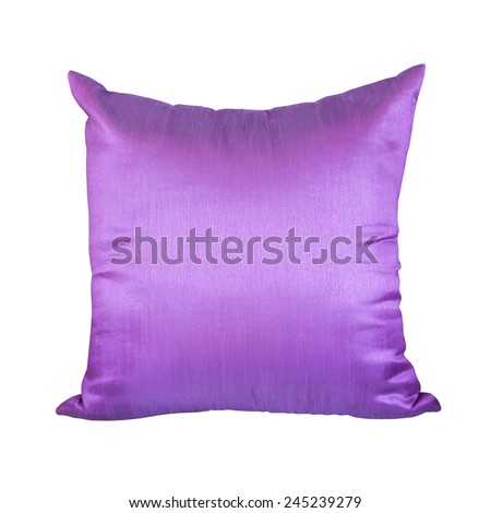 Purple or Violet Pillow Isolated on White Background  - stock photo
