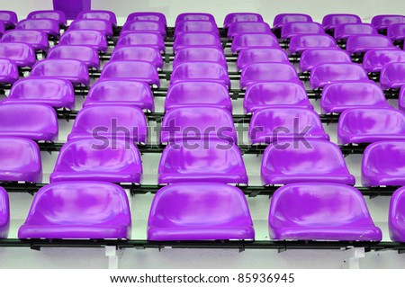 Purple or violet seat in sport stadium, Bangkok, Thailand. - stock photo