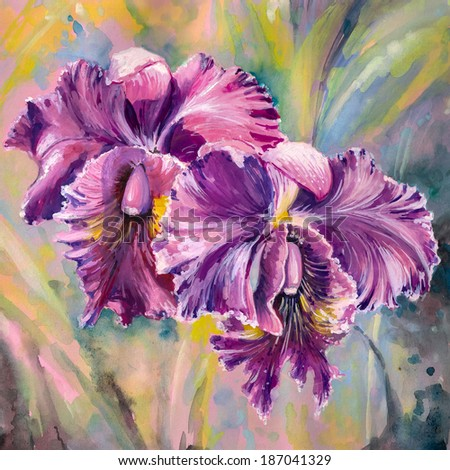 Purple orchid flowers.Picture created with watercolors. - stock photo
