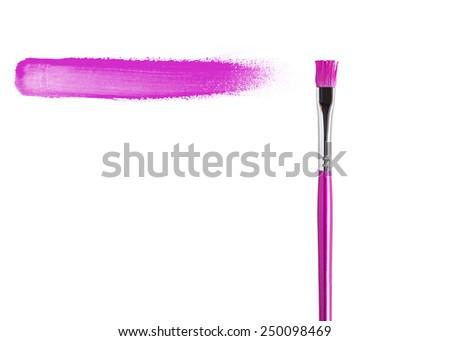 purple paint stroke with paintbrush, isolated on white background.  - stock photo