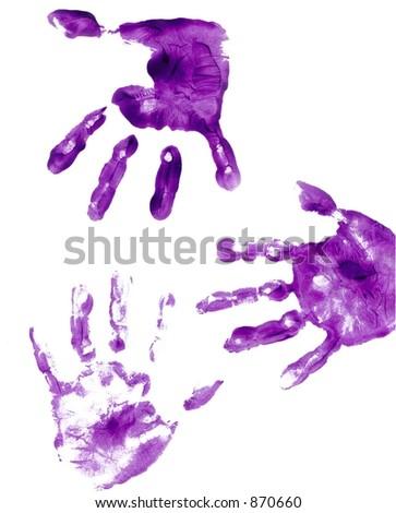 purple painted hand prints - stock photo
