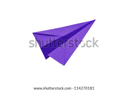 Purple Paper aircraft, Paper Plane on a white background, - stock photo