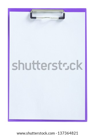 purple paperclip with sheet of paper isolated