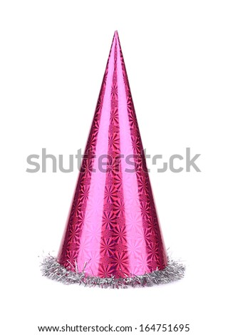 Purple party hat cone. Isolated on a white background.