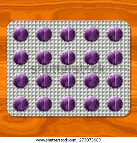 Purple pills in gray metal blister on orange wooden board - digitally rendered graphic - stock photo