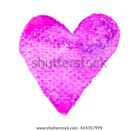 Purple pink heart shape colorful watercolor