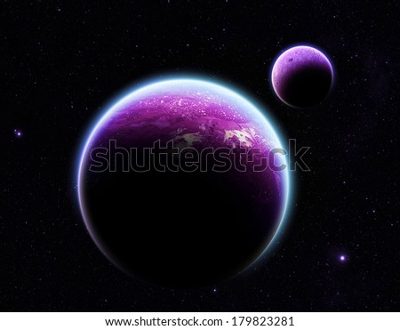 Purple Planet and Moon on Stars - Elements of this Image Furnished by NASA - stock photo