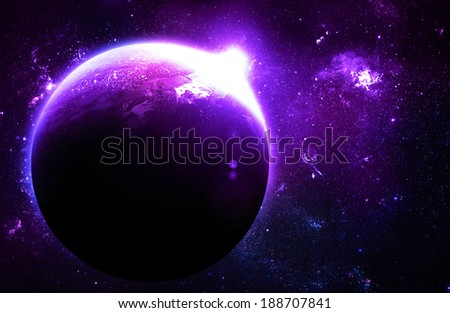 Purple Planet at Sunrise - Elements of this Image Furnished By NASA - stock photo