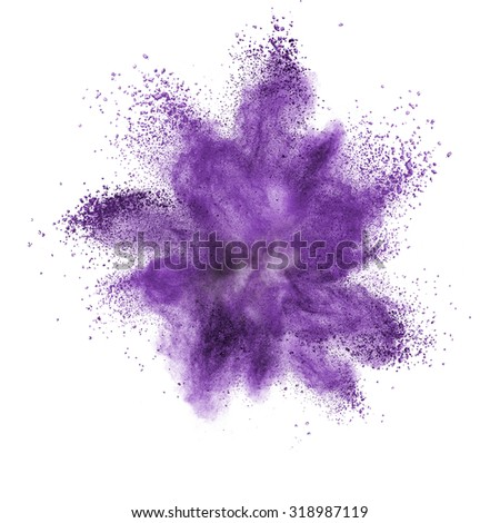 Purple powder explosion isolated on black background