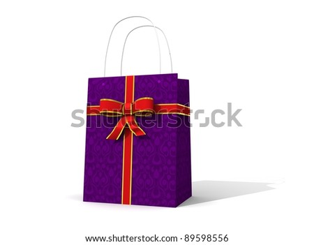 purple present white background - stock photo