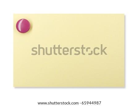 Purple pushpin holding up a yellow note - stock photo