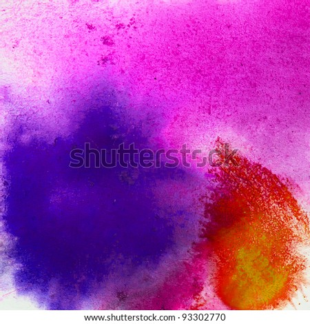 purple red blue macro background texture of watercolor - stock photo