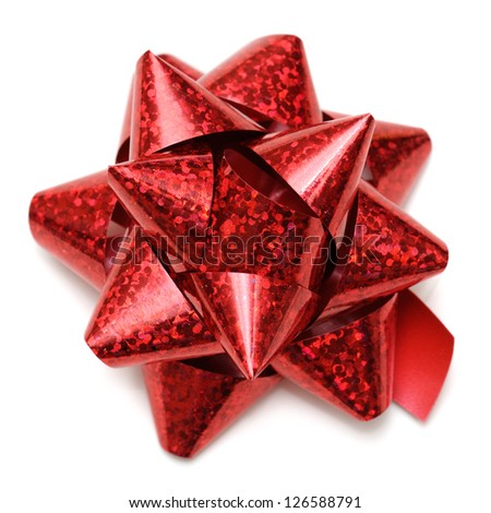 Purple red holographic gift bow on white background. - stock photo