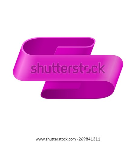 Purple ribbon. Abstract scroll paper vector background. Design element. Ribbon banner. Isolated on a white background. - stock photo