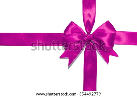 Purple  ribbon and bow isolated on white background - stock photo