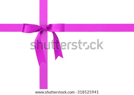 purple ribbon cross with bow with tails isolated on white background
