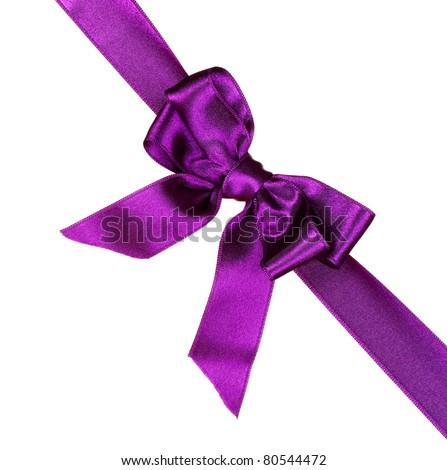 purple ribbon isolated on white - stock photo