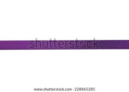 Purple ribbon on white background - stock photo