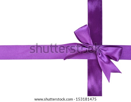 purple ribbon with bow isolated on white background - stock photo