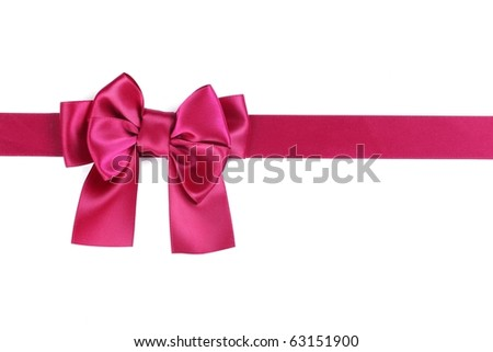 Purple ribbon with bow on white