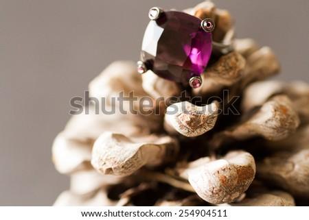 purple ring in bump - stock photo