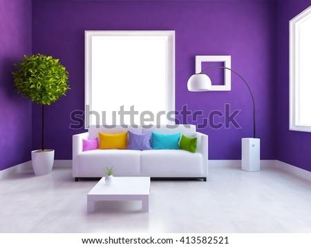 Purple room with sofa. Living room interior. Scandinavian interior. 3d illustration - stock photo