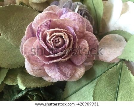 Purple rose flowers in mulberry paper texture with lighting at morning - stock photo